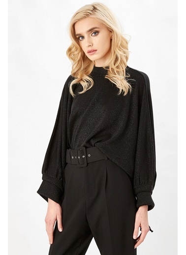 Peraluna Peraluna Siyah Renk Kolağzı Büzgülü Simli Salaş Kadın Triko Bluz Siyah